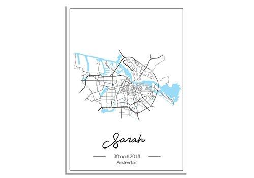 DesignClaud Geboorteposter Blauw - Stadskaart – Geboorteplaats Kraamcadeau