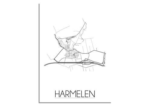 DesignClaud Grundriss Stadtplan Harmelen - Wanddekoration - Schwarz-Weiß-Grau