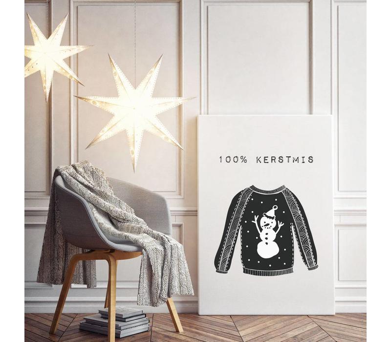 Kerstposter 100% kerstmis - kerstdecoratie - zwart wit