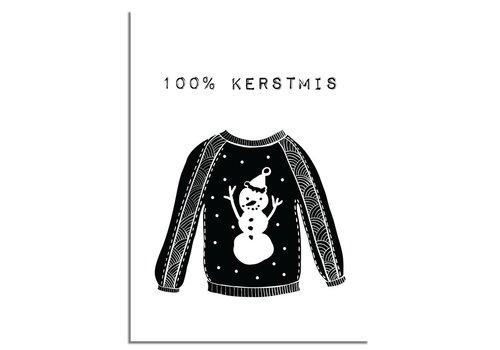 DesignClaud Kerstposter 100% kerstmis - kerstdecoratie - zwart wit