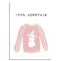 Kerstposter 100% kerstmis - kerstdecoratie - Roze