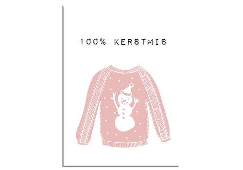DesignClaud Weihnachtsposter 100% Weihnachten - Weihnachtsdekoration - Rosa