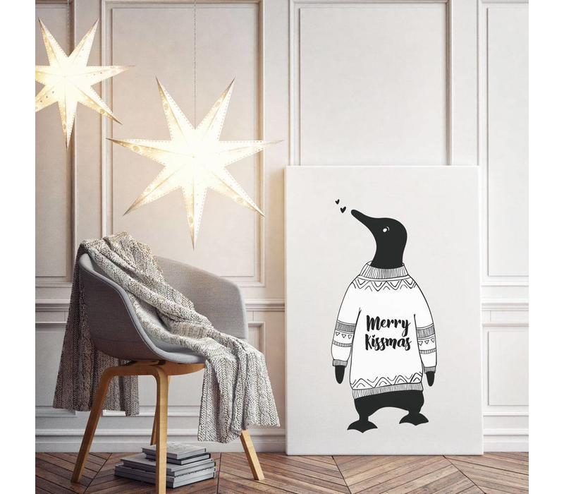 Kerstposter Merry Kissmass - kerstdecoratie - Zwart wit