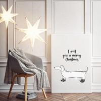 Kerstposter I woof you a merry Christmas - kerstdecoratie - Zwart wit