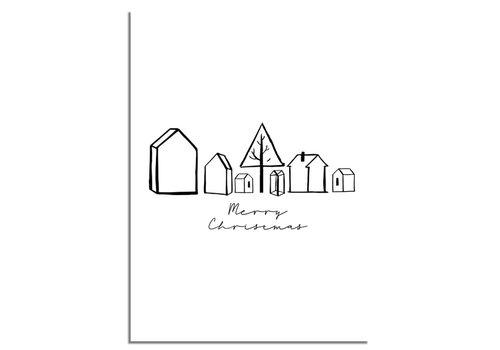 DesignClaud Kerstposter Merry Christmas Huisjes - Kerstdecoratie Zwart wit