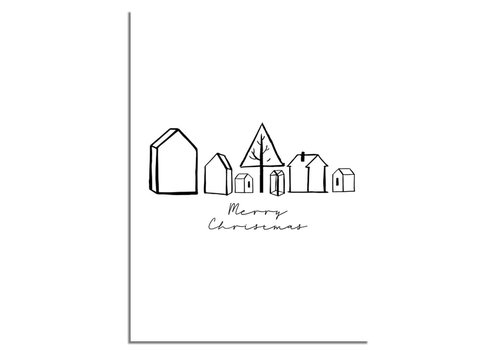 DesignClaud Weihnachtsposter Merry Christmas Häuser - Weihnachtsdekoration Schwarz weiß