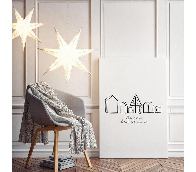 Kerstposter Merry Christmas Huisjes - Kerstdecoratie Zwart wit