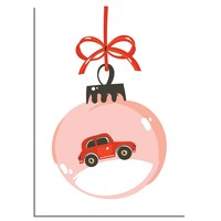 Kerstposter Rode auto - Kerstdecoratie Kleurrijk