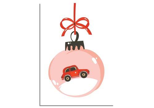 DesignClaud Kerstposter Rode auto - Kerstdecoratie Kleurrijk