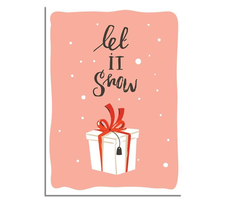 Kerstposter Let it snow - Kerstdecoratie Kleurrijk