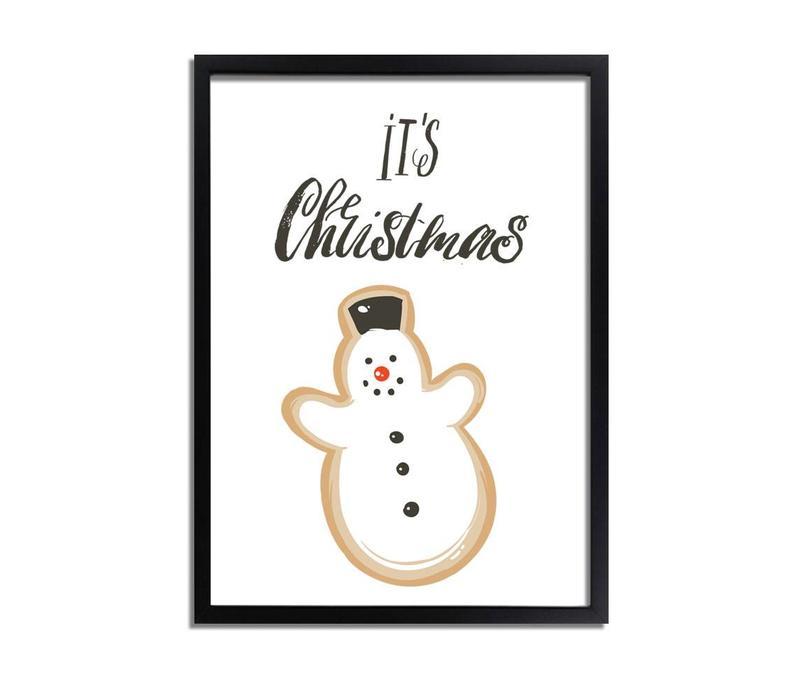 Kerstposter It's Christmas Sneeuwpop  - Kerstdecoratie Kleurrijk