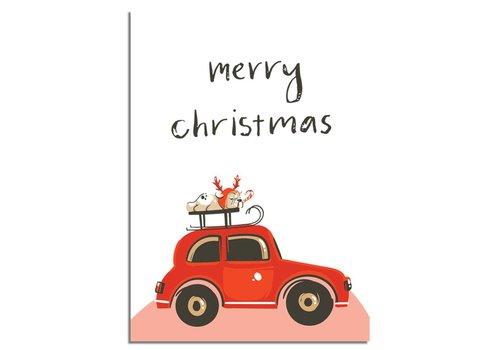 DesignClaud Kerstposter Merry Christmas Rode Auto  - Kerstdecoratie Kleurrijk