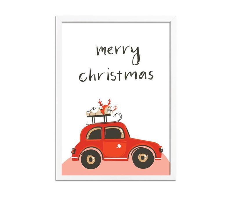 Kerstposter Merry Christmas Rode Auto  - Kerstdecoratie Kleurrijk