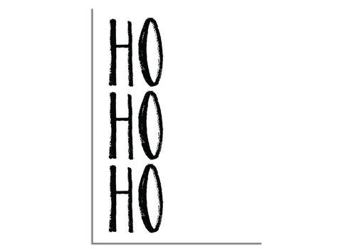 DesignClaud Weihnachtsposter Ho Ho Ho - Weihnachtsdekoration Schwarz-Weiß