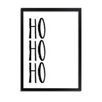 Kerstposter Ho ho ho - Kerstdecoratie Zwart wit