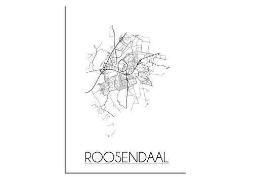 DesignClaud Grundriss Stadtplan Roosendaal - Wanddekoration - Schwarz-Weiß-Grau