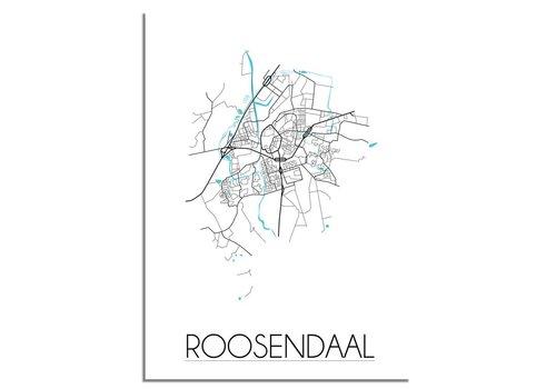 DesignClaud Grundriss Stadtplan Roosendaal - Wanddekoration - Schwarz-Weiß-Blau