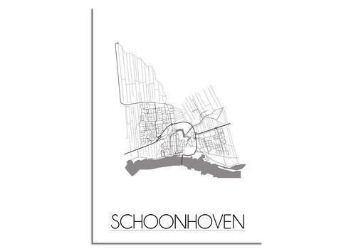 DesignClaud Grundriss Stadtplan Schoonhoven - Wanddekoration - Schwarz-Weiß-Grau