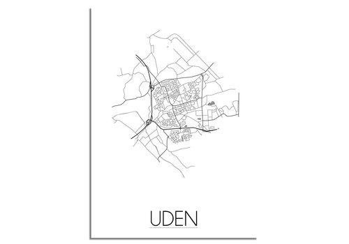 DesignClaud Plattegrond Uden stadskaart - Wanddecoratie - Zwart wit grijs