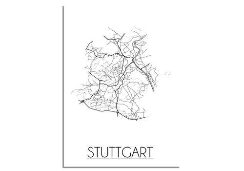DesignClaud Grundriss Stadtplan Stuttgart - Wanddekoration - Schwarz-Weiß-Grau