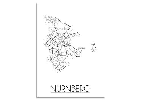 DesignClaud Grundriss Stadtplan Nürnberg - Wanddekoration - Schwarz-Weiß-Grau