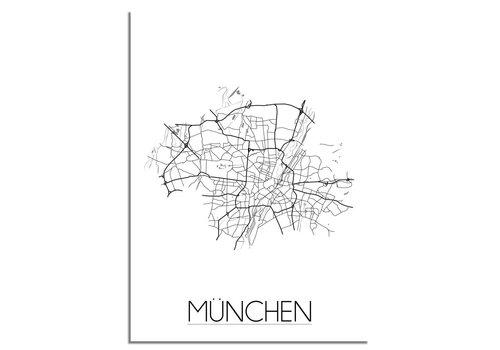 DesignClaud Grundriss Stadtplan München - Wanddekoration - Schwarz-Weiß-Grau