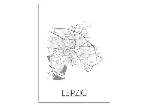 DesignClaud Plattegrond Leipzig stadskaart - Wanddecoratie - Zwart wit grijs