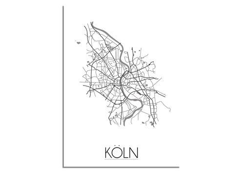 DesignClaud Plattegrond Köln / Keulen stadskaart - Wanddecoratie - Zwart wit grijs