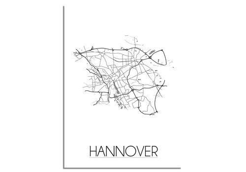 DesignClaud Plattegrond Hannover stadskaart - Wanddecoratie - Zwart wit grijs