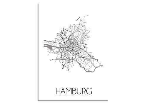 DesignClaud Grundriss Stadtplan Hamburg - Wanddekoration - Schwarz-Weiß-Grau