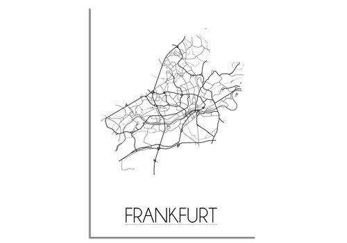 DesignClaud Grundriss Stadtplan Frankfurt - Wanddekoration - Schwarz-Weiß-Grau