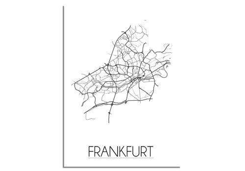 DesignClaud Plattegrond Frankfurt stadskaart - Wanddecoratie - Zwart wit grijs