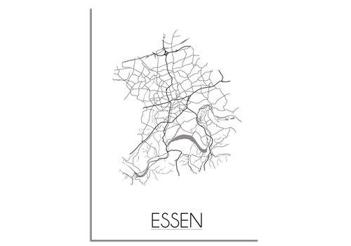 DesignClaud Grundriss Stadtplan Essen - Wanddekoration - Schwarz-Weiß-Grau
