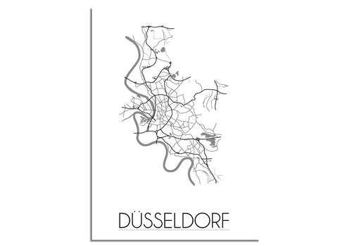 DesignClaud Grundriss Stadtplan Düsseldorf - Wanddekoration - Schwarz-Weiß-Grau