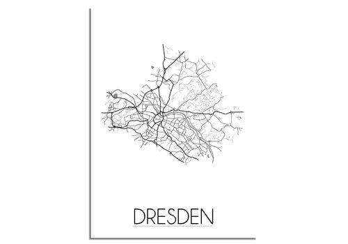 DesignClaud Grundriss Stadtplan Dresden - Wanddekoration - Schwarz-Weiß-Grau