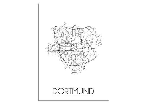 DesignClaud Grundriss Stadtplan Dortmund - Wanddekoration - Schwarz-Weiß-Grau