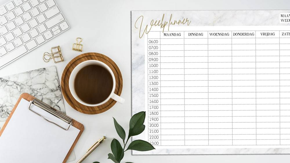 Weekplanner in Scandinavisch design met marmer look