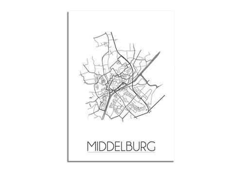 DesignClaud Middelburg - Stadskaart - Plattegrond - Interieur poster - Grijs
