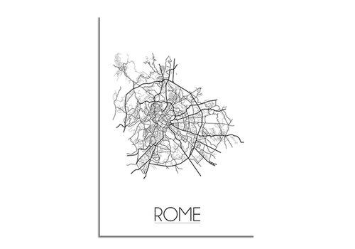 DesignClaud Rome - Stadskaart - Plattegrond - Interieur poster - grijs