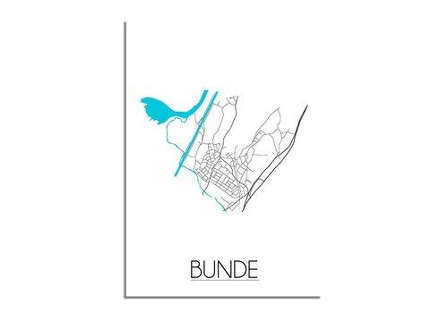 DesignClaud Plattegrond Bunde Stadskaart poster - Wit Zwart Blauw