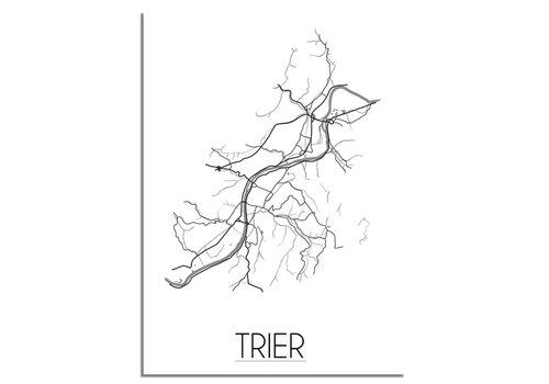 DesignClaud Grundriss Stadtplan Trier plakat - Schwarz Weiß Grau