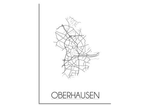 DesignClaud Grundriss Stadtplan Oberhausen plakat - Schwarz Weiß Grau