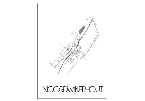 DesignClaud Grundriss Stadtplan Noordwijkerhout plakat - Schwarz Weiß Grau