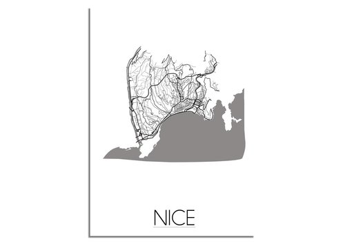 DesignClaud Grundriss Stadtplan Nice plakat - Schwarz Weiß Grau
