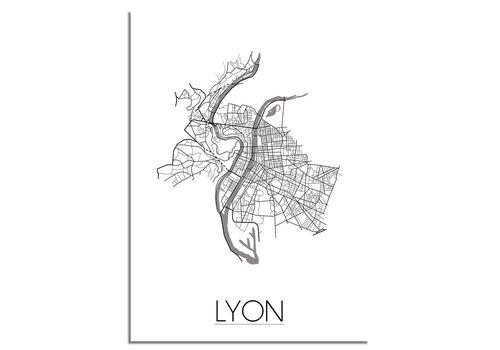 DesignClaud Grundriss Stadtplan Lyon plakat - Schwarz Weiß Grau