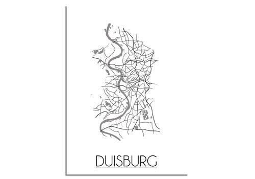 DesignClaud Grundriss Stadtplan Duisburg plakat - Schwarz Weiß Grau