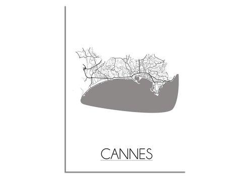 DesignClaud Grundriss Stadtplan Cannes plakat - Schwarz Weiß Grau