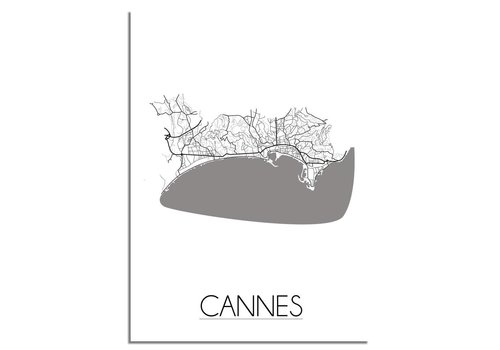 DesignClaud Plattegrond Cannes stadskaart poster - Zwart wit grijs