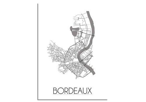 DesignClaud Plattegrond Bordeaux stadskaart poster - Zwart wit grijs