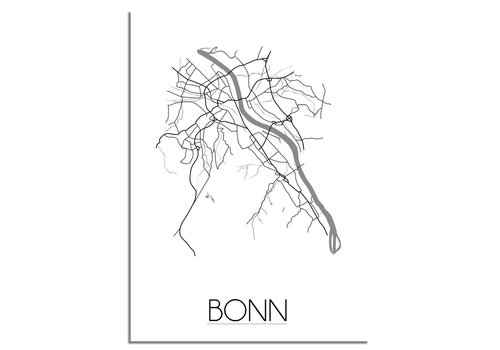 DesignClaud Plattegrond Bonn stadskaart poster - Zwart wit grijs